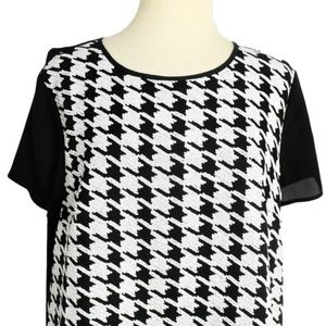 Talbots 16 Reg Sequin Houndstooth Top Black White